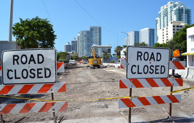 Image: Heavy construction in the area of South Beach, in Miami, Florida as the city installs new water pumps.
