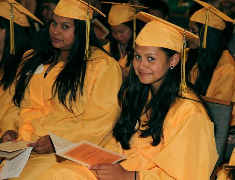 College Connect students during Mi Pasaje, the Mission Graduates graduation ceremony in San Francisco, California.