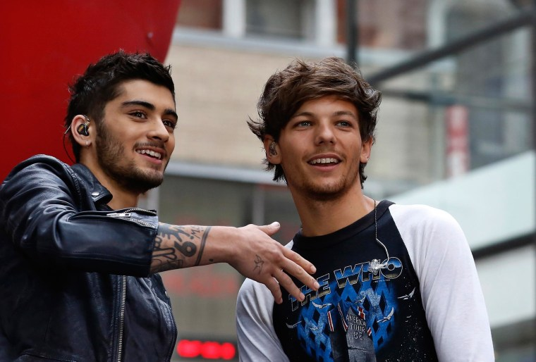 Zayn Malik and Louis Tomlinson of One Direction appear on NBC's 'Today' show at Rockefeller Center in New York