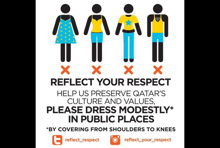An image circulated as part of a Qatari campaign that asks tourists and residents to dress modesty in public places.