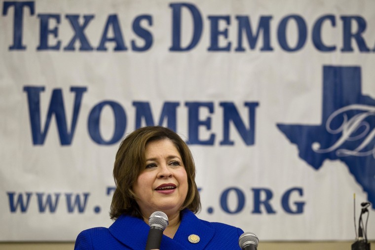 Democrat Leticia Van de Putte speaks at the Texas Democratic Women's Convention in Austin in February.