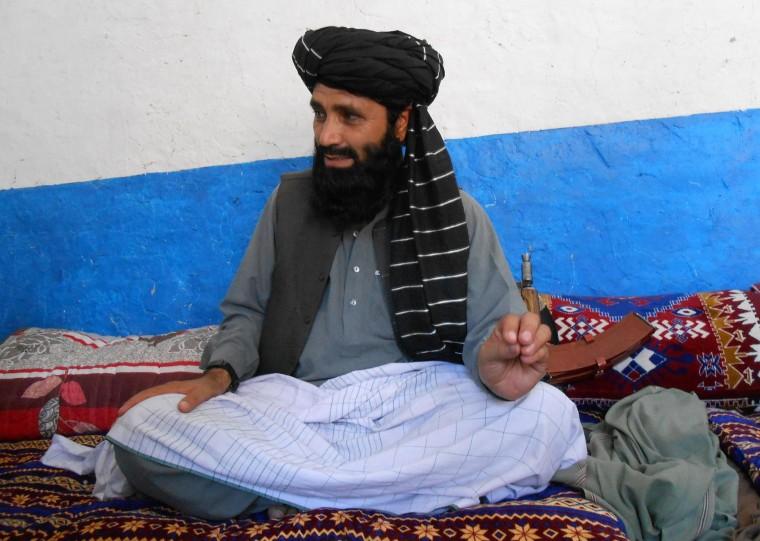 Image: Azam Tariq, a leader of Tehreek-e-Taliban Pakistan, talks with media in North Waziristan