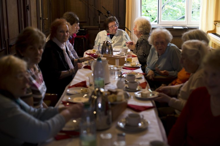 Holocaust survivor Ruth Thorsch, center, gathers with other survivors for tea and cake at Treffpunkt (Meeting Point) in Frankfurt am Main, Germany, on April 30, 2014.