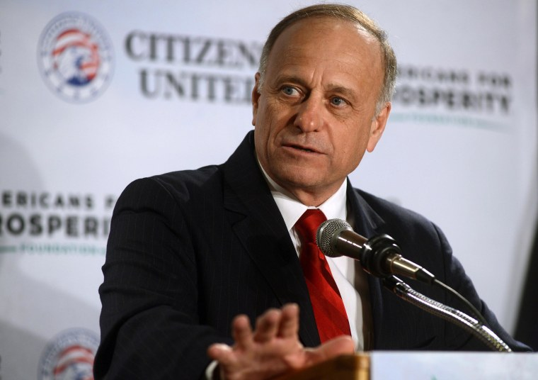 U.S Representative Steve King (R-IO) speaks at the Freedom Summit at The Executive Court Banquet Facility on April 12 in Manchester, New Hampshire.