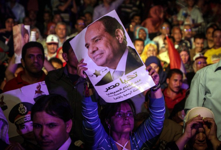 Image: A supporter of Egypt's former army chief Abdel Fattah el-Sissi