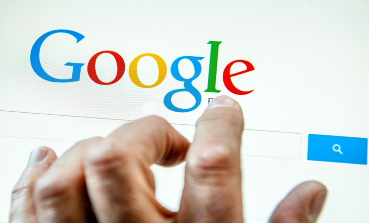 Image: A person prepares to search the internet using the Google search engine