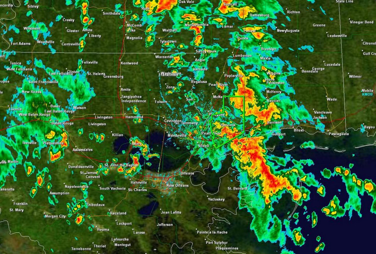 Heavy rainfall over parts of Mississippi and Louisiana.