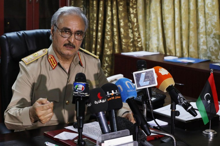 Image: General Khalifa Haftar speaks during a news conference at Benina air base in Benghazi