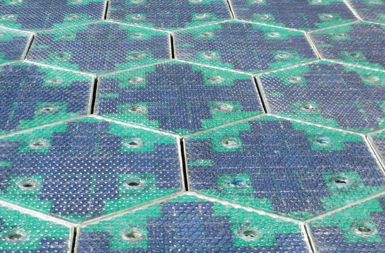 Image: Prototype parking lot panels created by Solar Roadways founders Julie and Scott Brusaw