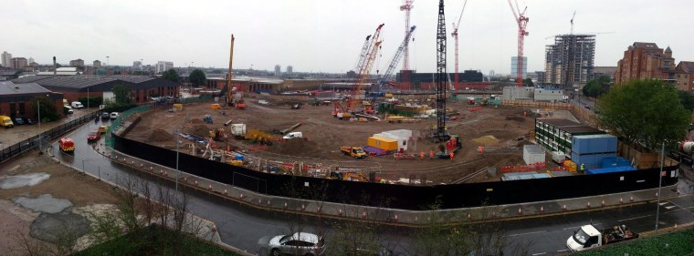 An image from August 2013 shows the site where the new U.S. Embassy is being built.