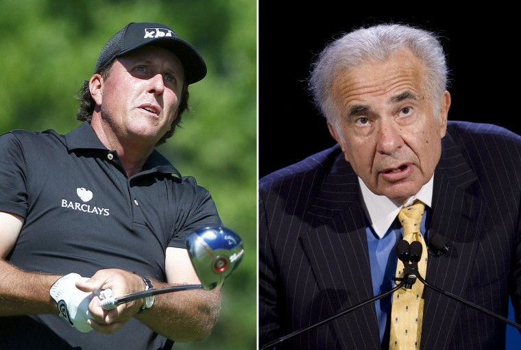 Image: A combination photo of golfer Phil Mickelson and billionaire activist-investor Carl Icahn
