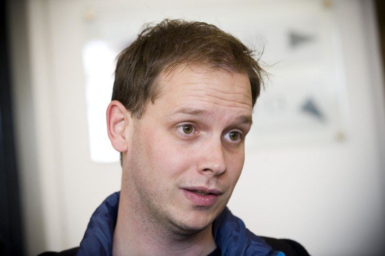 This photo taken on September 28, 2010 shows one of the co-founders of the file-sharing website, The Pirate Bay, Peter Sunde, waiting at the Swedish Appeal Court in Stockholm. The co-founder of file-sharing website The Pirate Bay, Peter Sunde, was arrested in southern Sweden after two years on the run, Swedish police said on June 1, 2014.