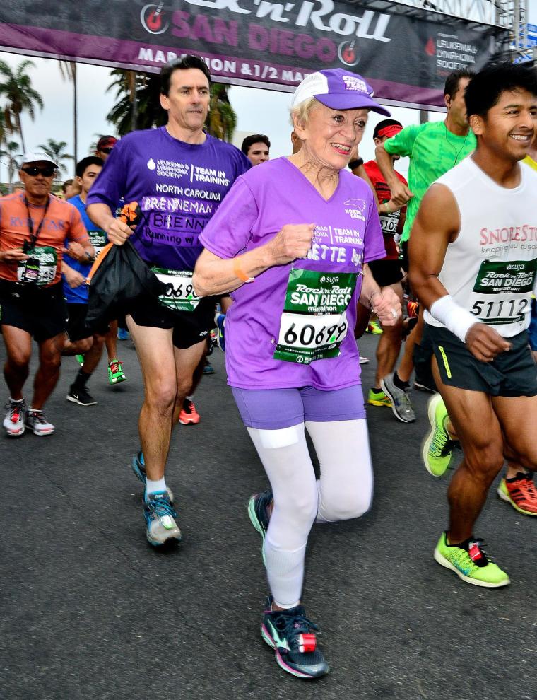 Image: 91-year-old Marathon participant Harriette Thompson