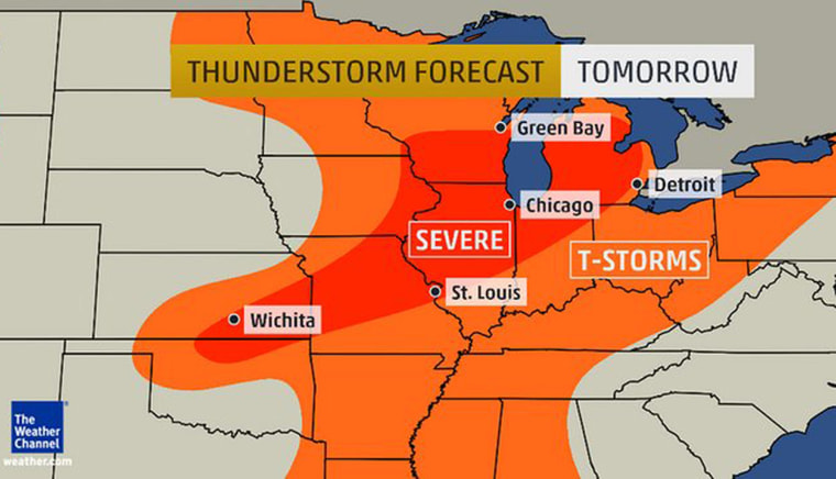 Severe thunderstorms will threaten parts of the Plains and Midwest over the next several days.