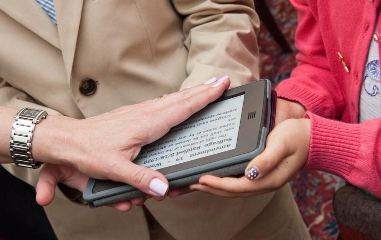 The new U.S. ambassador to Switzerland and Liechtenstein swore her oath Friday on an e-reader.