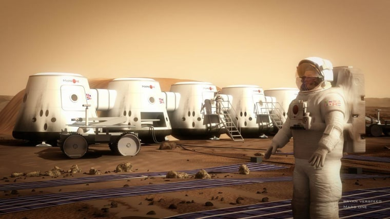 An artist's conception shows a settler at the Mars One colony.