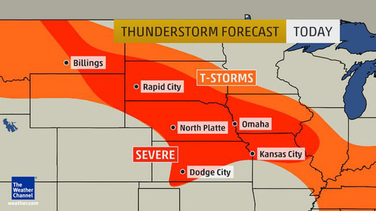 Tornadoes are likely in parts of the Central Plains Tuesday.