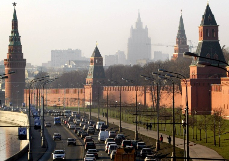 A traffic jam forms outside the Kremlin palace walls in Moscow, named the world's most car-congested city.