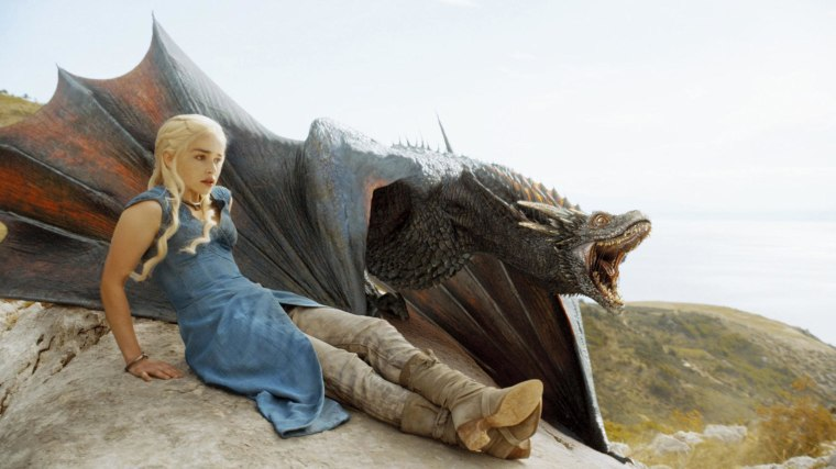Image: Emilia Clarke as Dany on 'Game of Thrones' with her dragon