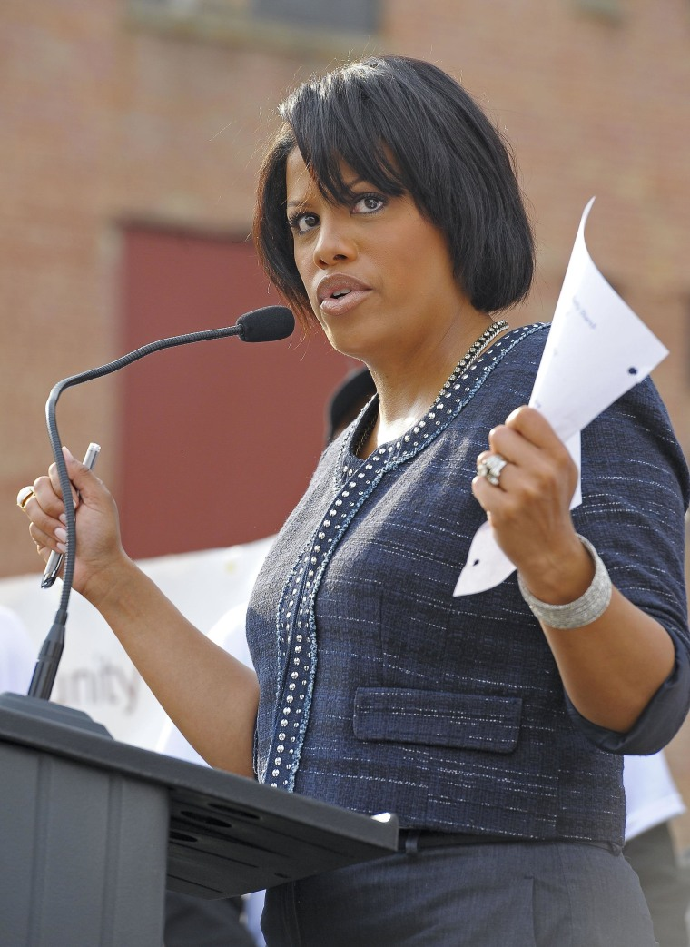 Image: Baltimore Mayor Stephanie Rawlings-Blake Kicks Off AOL's 2nd Annual Monster Help Day During A Press Conference At The Sharp-Leadenhall Neighborhood