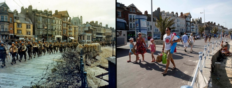 Image: Left, the 2nd Battalion US Army Rangers march to their landing craft in Weymouth, right, tourists walk along the beachfront in Weymouth, England