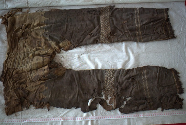 A pair of woollen pants dating from around 1100 BC were found in a grave in Yanghai, in China's Xinjiang region.