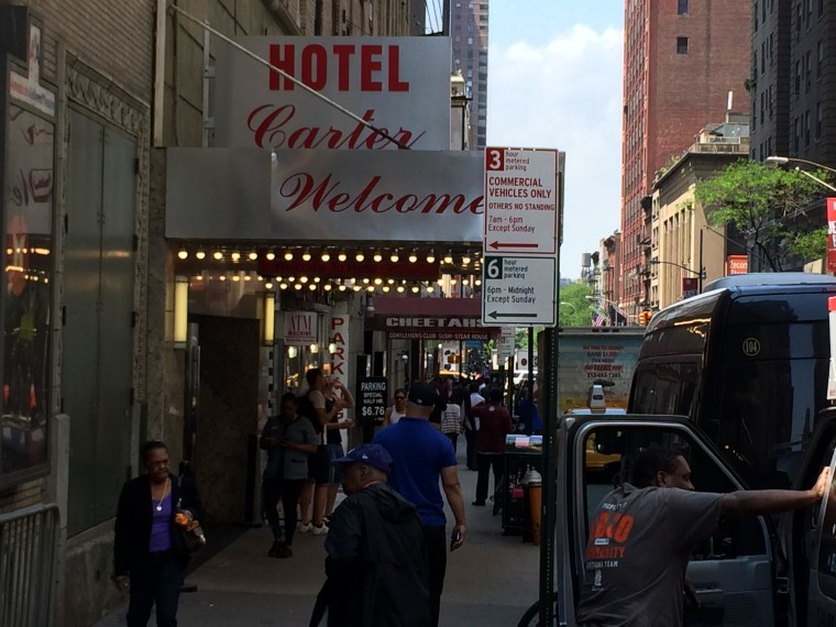 Times Square's Hotel Carter, with a reputation as the dirtiest hotel in America, is on the auction block and may soon be bought.