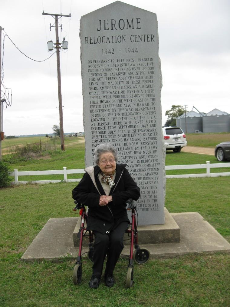 Mary Masako Kanase at the former site of the Jerome, Arkansas internment camp.