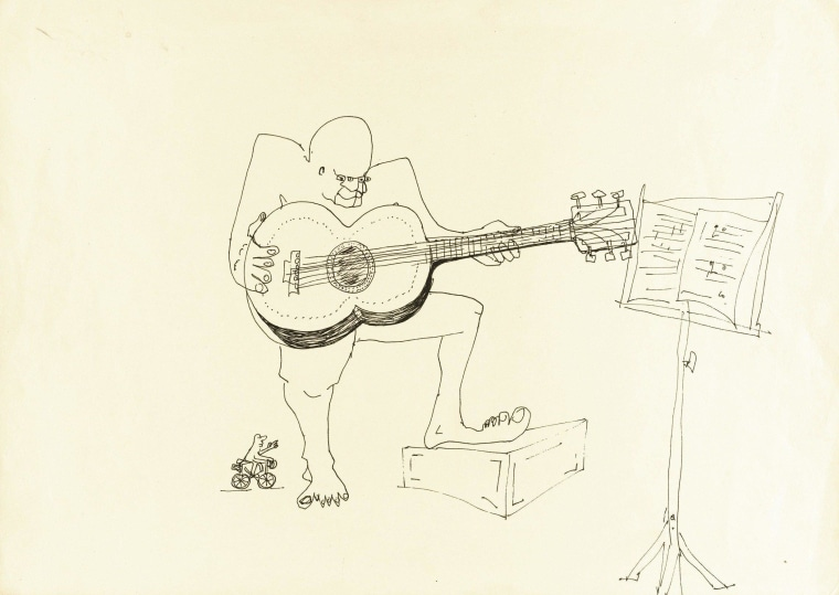 John Lennon's ink drawing of a four-eyed guitarist fetched $109,375 at Sotheby's auction house in New York on Wednesday.