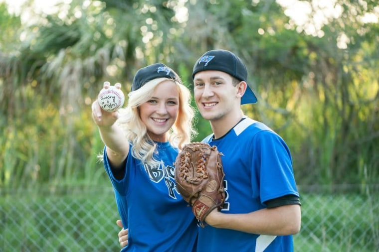 Griffin Furlong and his girlfriend, Avery McCall, pose for a senior portrait.