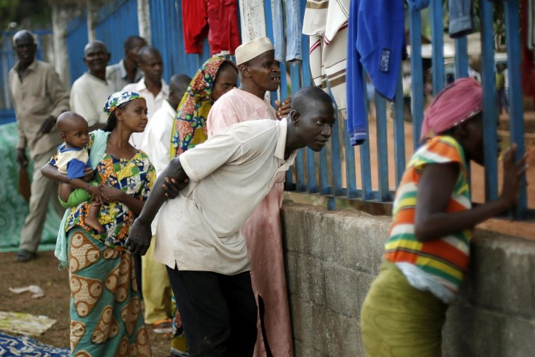 Image: Muslim refugees take refuge at the Catholic church in Carnot, Central African Republic