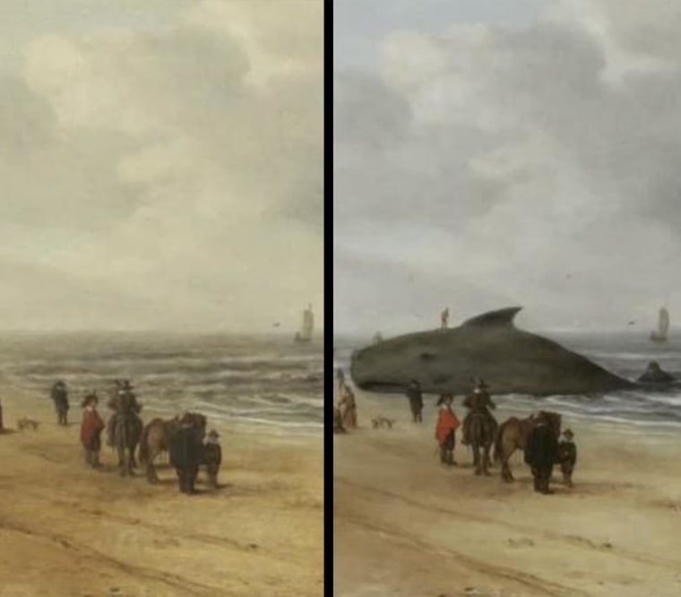 Dutch restorers started to peel away centuries of varnish and grime from a 17th century painting, left, they discovered a whale that had been painted over, right.