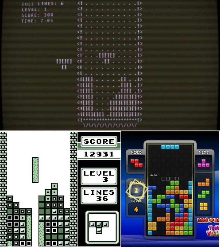 Tetris for the Elektronika 60 (above), the Game Boy (bottom left), and Amazon's Fire TV (bottom right).