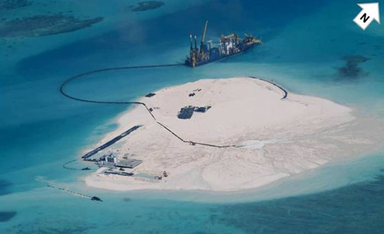 Image: A view of Johnson South Reef, known to China as Chigua Reef and which the Philippines calls Mabini Reef, in the South China Sea