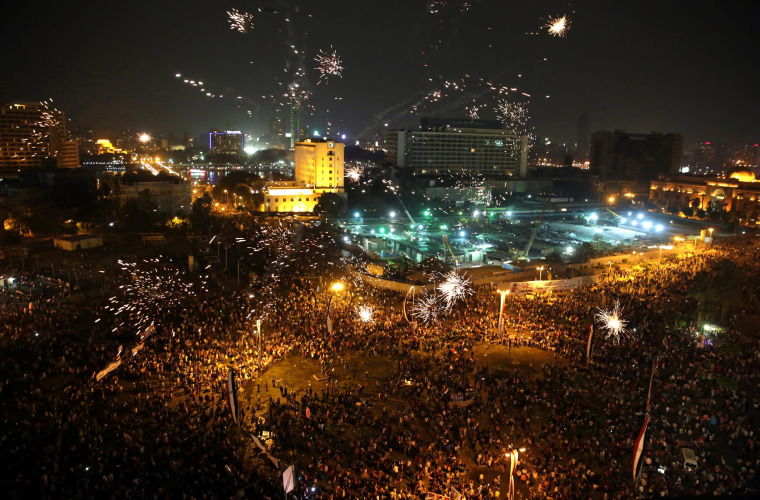 Supporters of Egyptian President Abdel-Fattah el-Sissi celebrate his inauguration in Tahrir Square, Cairo, Sunday, Sunday, June 8.