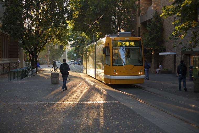 Image: Streetcar traveling through Portland, Oregon.