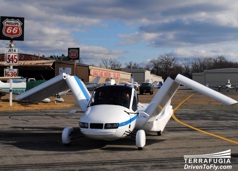 Terrafugia's Transition is a real-life flying car, or perhaps it is better described as a plane you can drive on the ground. It is working but not yet for public sale.