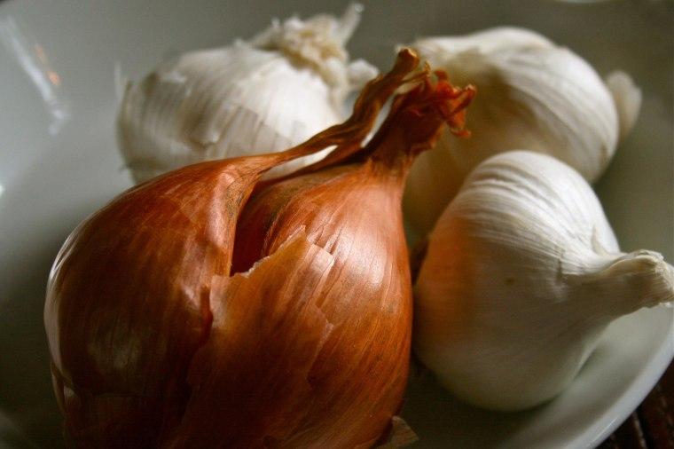 Image: Garlic bulbs and shallot in New Market, Va on Feb. 25, 2010.