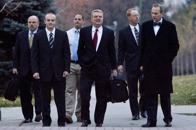 Image: Former Blackwater Worldwide security guards arrive at the U.S. District Court in Salt Lake City