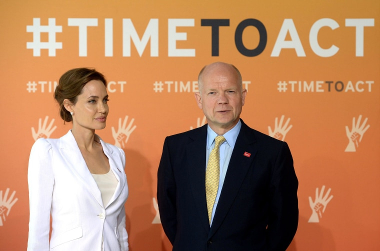 Image: Britain's Foreign Secretary William Hague and actress and campaigner Angelina Jolie