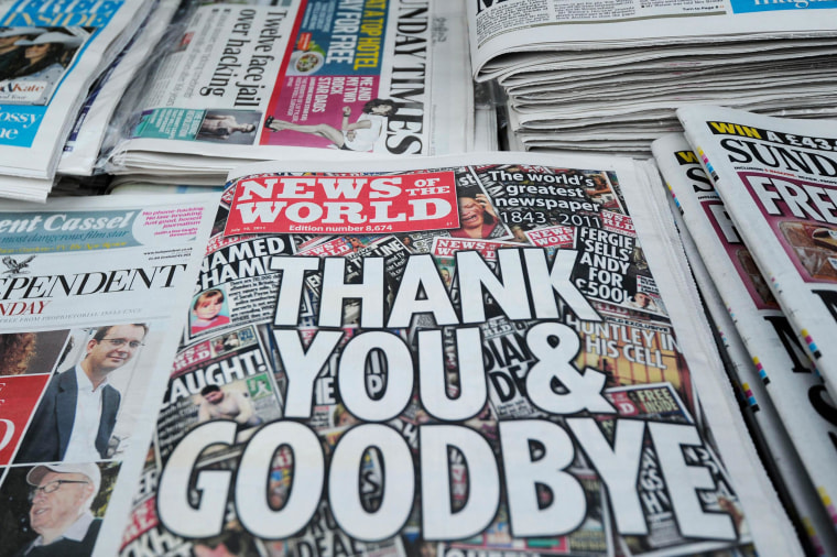Image: Copies of the last edition of the British tabloid newspaper News of the World