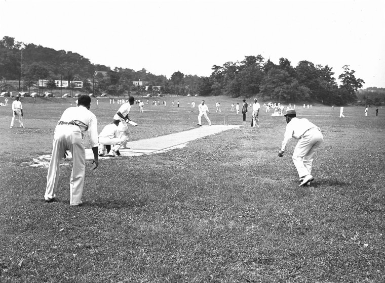 Image: Trinidad and St. Lucia cricket teams face off in New York's Van Cortlandt Park, on June 30, 1948