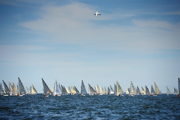 The 2014 Finn World Masters Championship sailing race starts in the Gulf of Gdansk, Poland, on June 10.