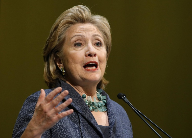 Image: Former U.S. Secretary of State Hillary Clinton speaks during an event in Chicago