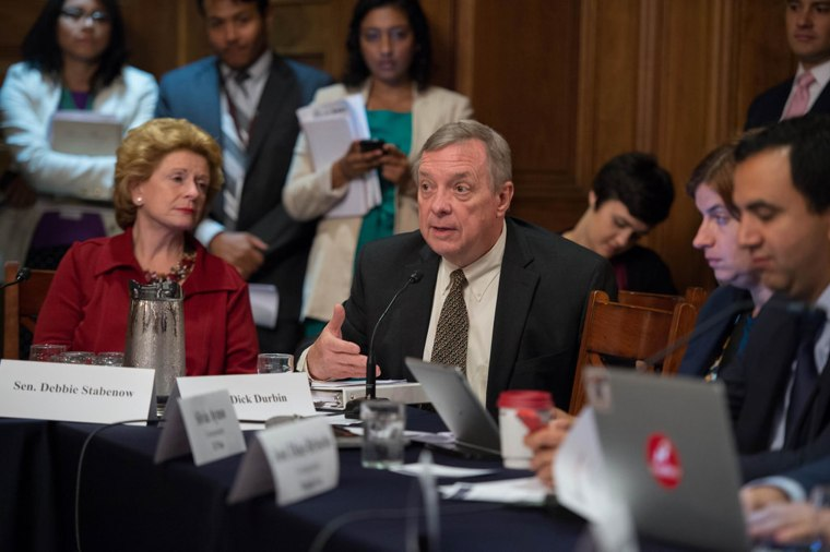 Sen. Dick Durbin of Illinois speaks at a media roundtable with Democratic senators to discuss immigration reform in Washington on Wednesday.