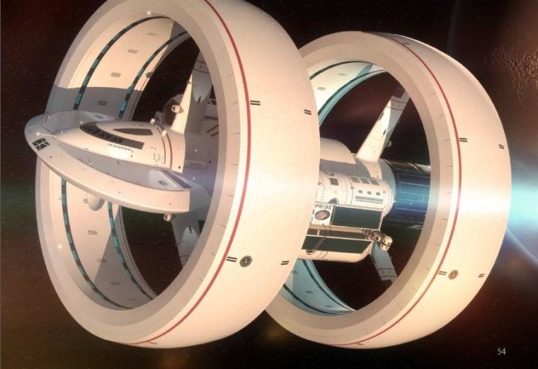 This rendering of the IXS Enterprise, created by Mark Rademaker, was used in a presentation by NASA's Harold White. It's based on White's theoretical work, with input from Star Trek graphic designer Michael Okuda.