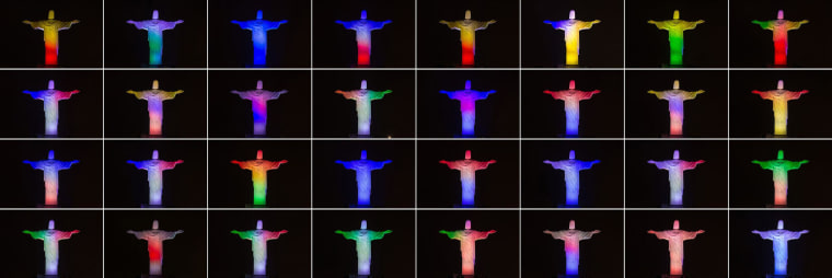 Image: TThis combination of 32 photos shows the statue of the Christ the Redeemer lit with colors from national flags of all 32 nations participating in the FIFA World Cup Brazil 2014