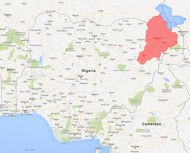 Map shows Nigeria's Borno state, stronghold of Boko Haram.
