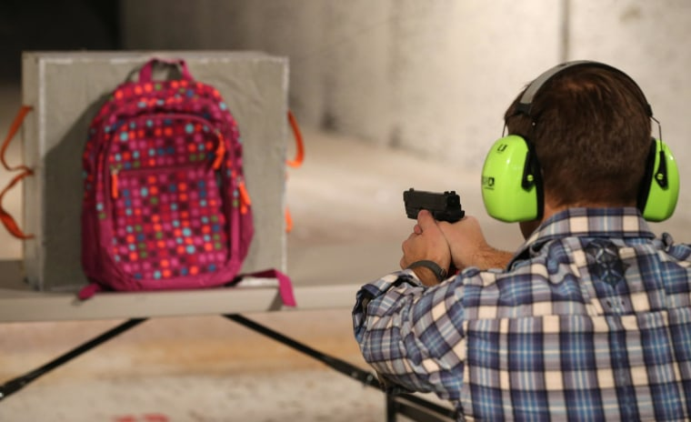 Image: Test of a bulletproof insert for a child's backpack.
