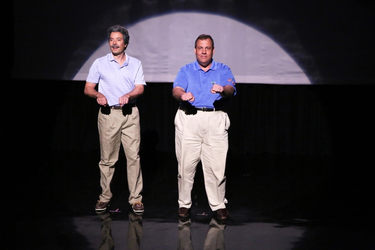 """Image: Host Jimmy Fallon and Governor Chris Christie during the """"Evolution of Dad Dancing"""""""
